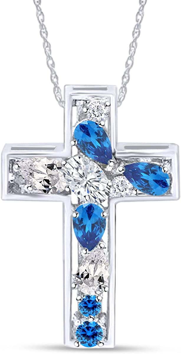Jewel Zone US Simulated Blue Cubic Zirconia Cross White Outlet SALE New item Topaz