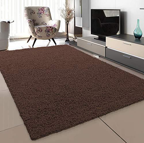 SANAT Teppich Wohnzimmer - Dunkelbraun Hochflor Langflor Teppiche Modern, Größe: 80x150 cm