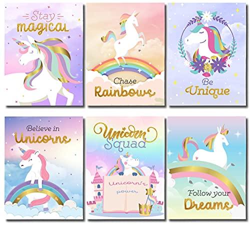 Unicorn Bedroom Decor For Girls, Girls Bedroom Decor, Girl Room Decor, Unicorn Wall Decor, Unicorn Decor For Girls Room, Unicorn Room Decor Girls Bedroom, Set 6 Unicorn Pictures Kids Room Decor 8