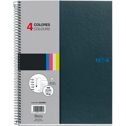 Miquelrius - Cuaderno Notebook The Original Grafito, 4 Franjas de Colores, A4, 160 Hojas Cuadriculadas 5 mm, Papel 70 g, 4 Taladros, Cubierta de Cartón Compacto, color Grafito