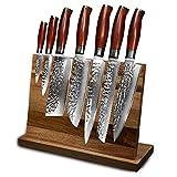 Set di coltelli da cuoco professionale - Porta coltello magnetico da cucina - Set di coltelli in acciaio inox Damasco giapponese - Dono chef (Color : HTT CRXMQWG Z 8P)