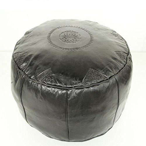 Marokkanische Leder-Sitzkissen orientalischer Pouf Rbati schwarz D 50 x H 32 cm gross | Inklusive Füllung Fußhocker | Kunsthandwerk aus Marrakesch | Echtleder Hocker Sitzpouf Polsterhocker Sitzhocker