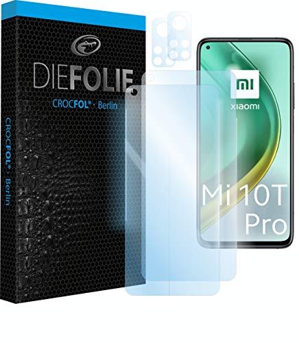 Crocfol Schutzfolie vom Testsieger [2 St.] kompatibel mit Xiaomi Mi 10T Pro- selbstheilende Premium 5D Langzeit-Panzerfolie - inkl. Kamera schutzfolien (Casefit)