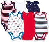 Amazon Essentials Baby 6-Pack Sleeveless Bodysuits, Uni Americana, Newborn