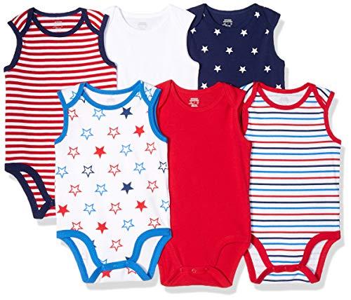 Amazon Essentials Baby 6-Pack Sleeveless Bodysuits, Uni Americana, 12M