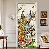 DFKJ Pegatinas de Puerta Decoración para el hogar Pavo Real Renovar Papel Mural Impresión de Arte Imagen Animal Autoadhesivo Papel Tapiz Impermeable para Dormitorio A10 86x200cm