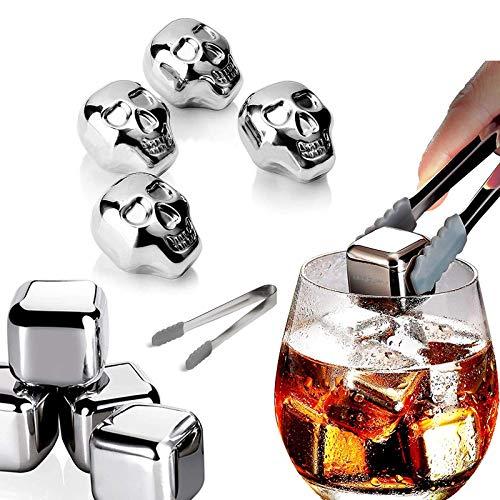 8 piedras de acero inoxidable para whisky, cubitos de hielo reutilizables, piedras de hielo de metal con diseño de calavera para enfriar bebidas o whisky Scotch