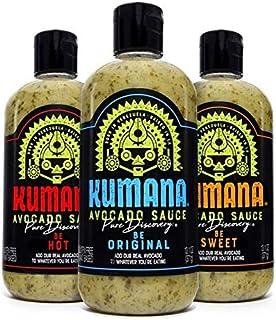 Kumana Avocado Sauce Variety 3 pack, 13.1 oz each (Be Hot, Be Original, Be Sweet)