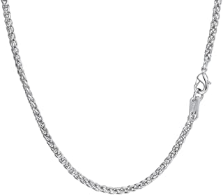 PROSTEEL Engraving, Men 3MM Wheat Chain Necklace, 18/20/22/24/26/28/30 Inches, 316L Stainless Steel/Gold Plated (with Gift...