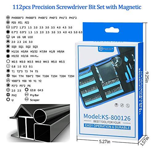 SOONAN Precision Screwdriver Set, 128 in 1 Small Torx Screwdriver Bit Set, Magnetic Mini Repair Tool Kit for Phillips Eyeglass Screwdriver Cellphone Tablet PC MacBook Electronic … (128)