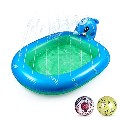 Gemeer Sprinkler Pad Splash Spielmatte - 3PCS Kinder Delphin Schwimmbad Set, 110 * 90 cm Delphinbrunnen, 2 Stück aufblasbare PVC-Bälle, geeignet für Jungen und Mädchen zum Spielen