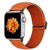 Cinturino elastico regolabile per Apple Watch Band 42 mm 44 mm iWatch Series SE / 6 / 5 / 4 / 3 / 2 / 1, cinturino di ricambio sportivo in morbido cotone per donna, uomo e no., colore: arancione