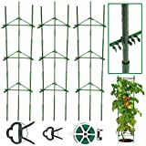 CKE 3 Pack Tomato Cage – Plant Stakes and Support with Clips - Upto 72 inches Tall with 40 Pcs Clips + Garden Twist Ties