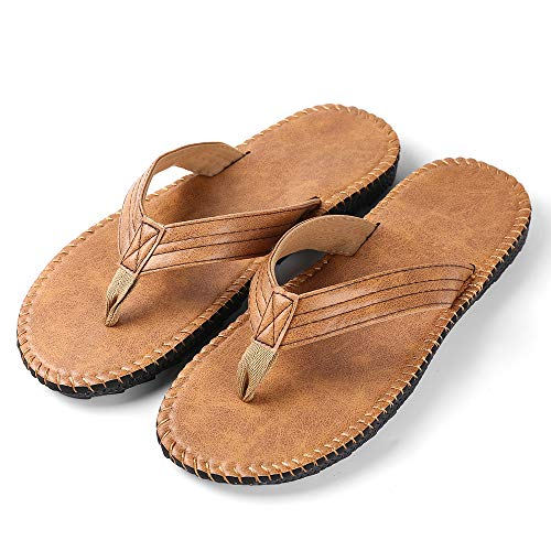 Roxie Men's Flip Flop Sandal with Leather Upper Arch Support Flip Flops for Men Tan