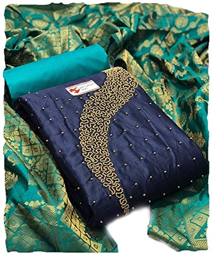 AAHIRA Women Cotton Unstiched Salwar Suit Dress Material Khatli Work With Banarsi Dupatta(Free Size, Superover) (Blue)