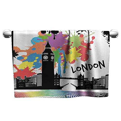 DUCKIL Personalized Hand Towels Retro Vintage London City View with Color Splashes Poster Style Grunge Urban Artwork Image Bathroom Towel 39 x 20 inch Multicolor
