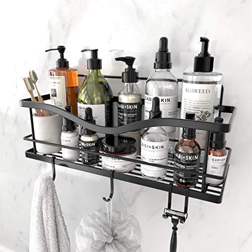 KINCMAX Shower Caddy Basket Shelf with Hooks, Caddy...
