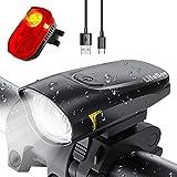 LIFEBEE LED Fahrradlicht Set, USB Wiederaufladbar Frontlicht und Rücklicht Set, Fahrradbeleuchtung, Wasserdicht Fahrradlampe Vorderlicht, 2 Modi Licht für Fahrrad - Schwarz