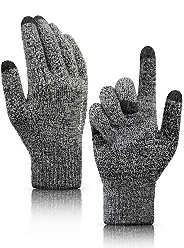 Gloves for Men, HONYAR Winter Gloves for Women Touch Screen Texting Smartphone Driving Running Bike - Knit Snow Gloves for Hands Warmer with Soft Warm Liner - Anti-slip Grip - Black & Gray (M)