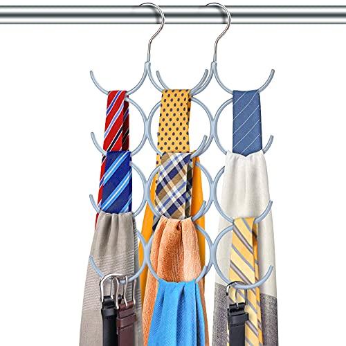 Colgadores de Ropa Que Ahorran Espacio–Organizador De Armarios de Metal con Percha de 8 Brazos y un Gancho –Percha Múltiple para Pañuelos, Mallas, Corbatas y Más 2pcs (Gris)