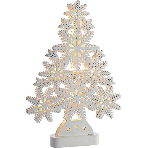 WeRChristmas–fiocco di neve, motivo: albero di Natale, decorazione in legno, Legno, White, large