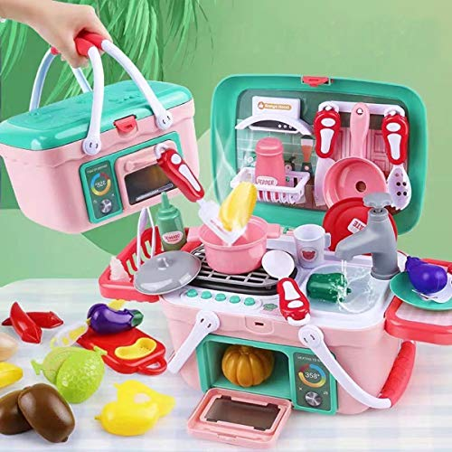 BETTINA 2 in 1 Kids Kitchen Playset amp Portable Pinic Basket Toys with Music amp Light Spraying Mist Play KitchenPlay SinkPretend Play Oven and Other Kithcen Accessories Toys for Girls and Boys