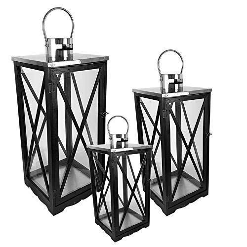 FineHome 3er Holz Laternen-Set XL H34 / 52/70 Gartenlaterne Windlicht Schwarz matt Kerzenhalter