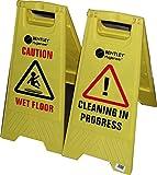 Caution wet floor / Caution cleaning in progress, cartelli di segnalazione con scritta di sicurezza in inglese