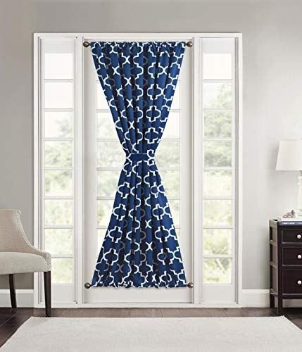 HLC.ME Lattice Print Blackout Darkening French Door Panel for Sidelight Windows - Thermal Insulation Provides Energy Efficiency and Privacy for Patio Doors - 1 Panel (54 W x 72 L, Navy Blue)