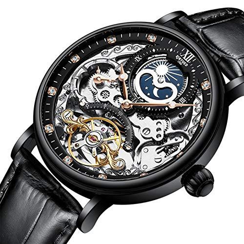 JTTM Relojes Analógicos Automáticos Mecánicos Relojes De Esqueleto Hombres Reloj con Correa De Cuero Marrón Relojes De Pulsera Impermeables para Hombres De Negocios Hombres,Negro