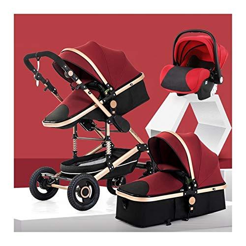 JIAX Cochecito De Bebé 3 En 1 con Sistema De Viaje Cochecito con Asiento para Bebé, Alto Paisaje Antigolpes Cochecito para Bebé con Arnés De 5 Puntos, Incluye Cubierta para La Lluvia (Color : Red)