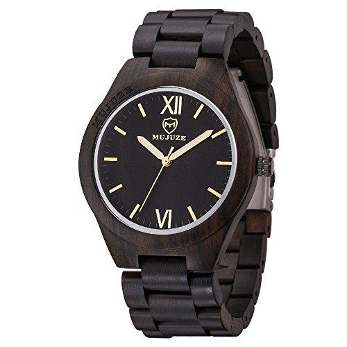MUJUZE Herren Analoge Quarz Holzkern Armbanduhren mit Schwarzes Sandelholz Band und Leuchtendem Zeiger ME1001Black