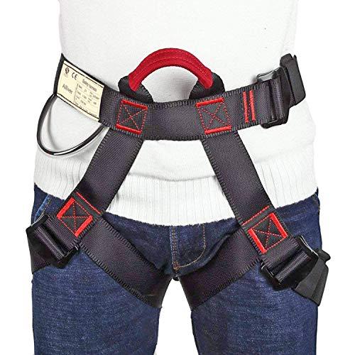 Ailiver Imbracatura da Arrampicata Imbracatura di Sicurezza Kit con Fibbia Regolabile Donna Uomo Bambino Mezza Imbracatura di Guida Nero (Nero)