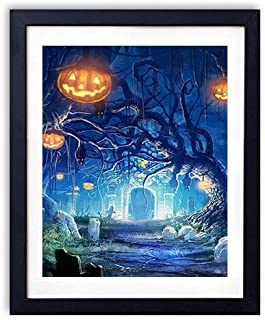 SHADENOV Black Wood Framed Wall Art - Halloween Holiday Castle Gates Graves Bats Night Darkness Fear Pumpkin - Art Print Pictures For Wall Decoration 12x16 Inches