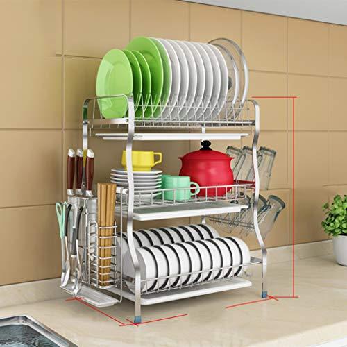 Soportes para platos JXLBB Estantería de desagüe del Bastidor de Plato de Acero Inoxidable 3 Capas de Almacenamiento de lavavajillas seco, (28x43.5x54.5cm) (Color : A5)