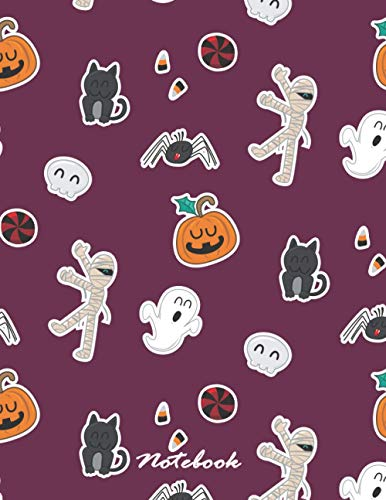 Notebook: Halloween icons purple cover and Lined pages, Extra large (8.5 x 11) inches, 110 pages, White paper (Halloween icons purple notebook, Band 4)