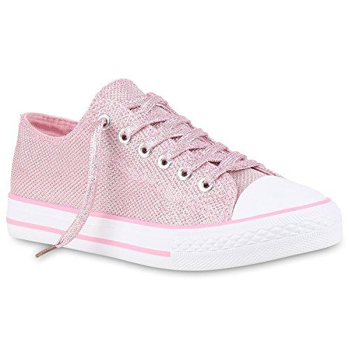 stiefelparadies Damen Schuhe Sneakers Sportschuhe Schnürer 155790 Rosa Glitzer 37 Flandell