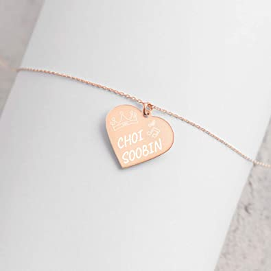 Seventeen The8 Necklace Engraved Xu Minghao Kpop Seventeen Merchandise for Carat Fans Rose Gold or Rhodium Plated Sterling Silver Heart Pendant /& 18 Chain Crown /& Music Notes on Gold