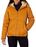 Amazon Essentials Women's Lightweight Water Resistant Long Sleeve Sherpa Lined Puffer Jacket with Hood, Camel, Medium