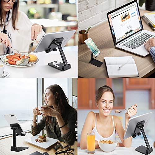 スマホスタンド卓上折りたたみ式ポ携帯スタンドホルダータブレットスタンド角度と高さを調整可能な安定した携帯電話スタンド折りたたみ式タブレットデスクトップスタンド頑丈なアルミニウム金属スマホスタンドすべてのスマートフォン/iPad/Kindle/タブレット4-11インチに対応