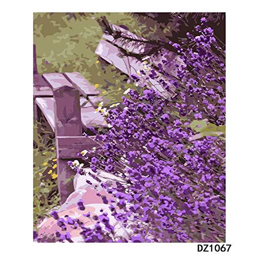 AHCMYK Pintar por Numeros para Kit - Sillón Purple Flower, Adultos Niños Pintura por Números con Pinceles y Pinturas Decoraciones para el Hogar Familia (40 X 50 cm, Sin Marco)