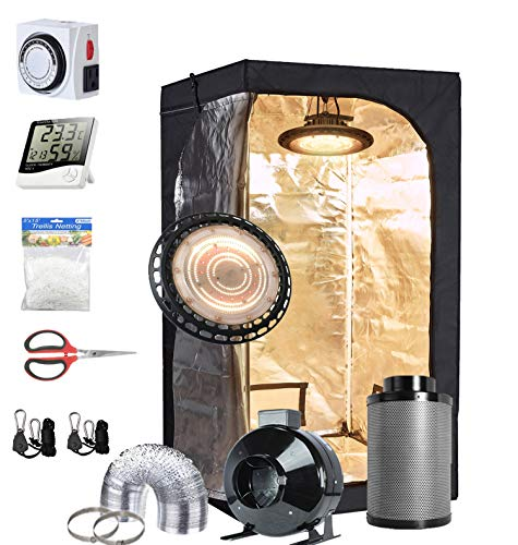 TopoGrow UFO LED 300W Grow Light Full-Spectrum +32'X32'X63' Grow Tent+4'Fan Filter Ventilation Kit +Hydroponics Indoor Plants Accessories Growing System