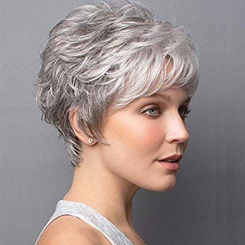 Short Gray Wigs Pixie Cut Wig with White Bangs Curly Synthetic Wigs for White Women Layered Natural Looking Daily Party Wig
