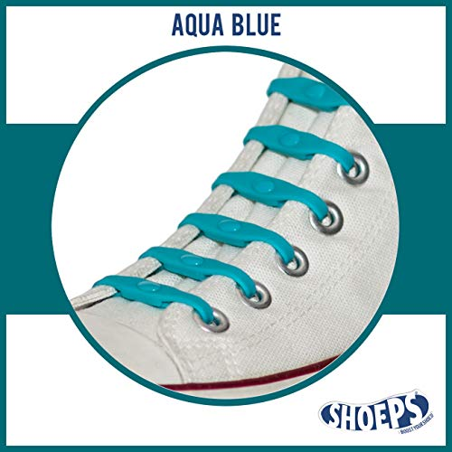 Shoeps Elastic Schnürsenkel, 8 teilig, Aqua Blue