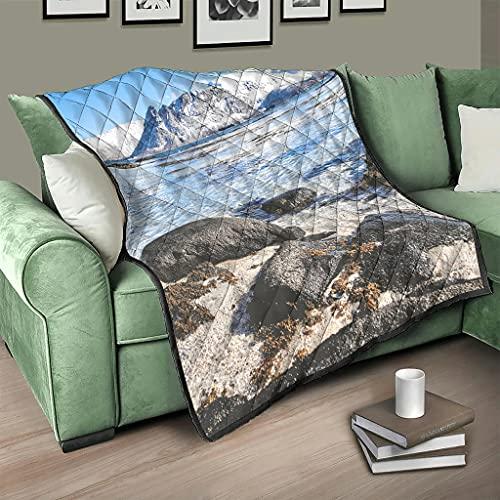 AXGM Colcha de Noruega, islas naturaleza, paisaje y lago, manta para el salón, color blanco, 230 x 260 cm