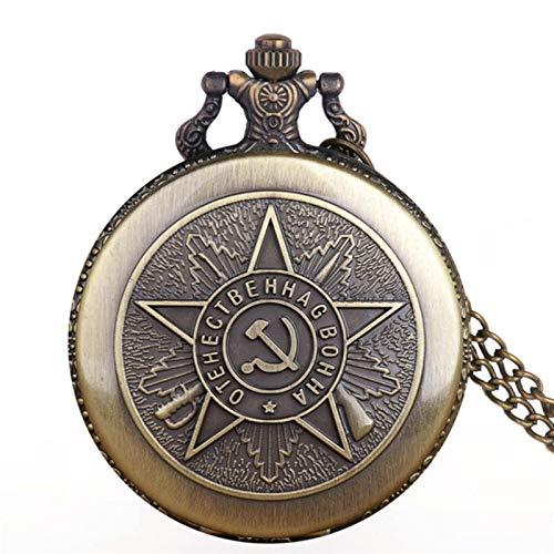 ZMKW Porträt von Stalin von Russlands führendem Quarz Taschenuhren Halskette Kettenanhänger Silber Taschenuhren Geschenke, Bronze