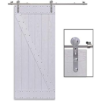 CCJH 9FT-275cm Herraje para Puerta Corredera Kit de Accesorios para Puertas Correderas Rueda Riel Juego para Una Puerta de Madera/Cristal: Amazon.es: Bricolaje y herramientas