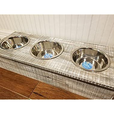 Raised Triple Dog Bowl Feeder