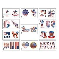 Lurrose 55シート愛国のための一時的な入れ墨防水子供のための独立記念日のステッカー&大人フェイスアートパーティー用ステッカー