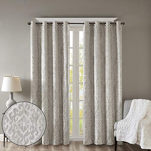 SUNSMART Mirage 100% Total Blackout Window Curtain, Knitted Jacquard Damask Room Darkening Curtains Panel with Grommet Top, 50x95, Grey